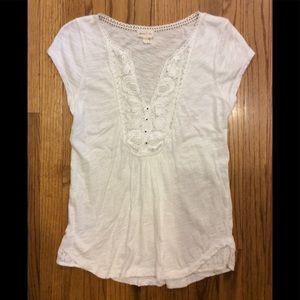 Meadow Rue by Anthropologie white top lace yoke